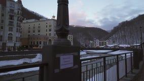 Hotels auf Rosa Valley 560 Meter über Meeresspiegelmitte von Skiortvorratgesamtlänge timelapse Video stock footage