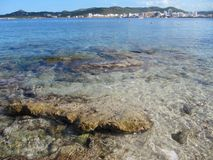 Coast view of San Antonio from San Antonio bay Ibiza island Spain. Hotels in the background of San Antonio ibiza taken across the ocean from San Antonio bay stock images