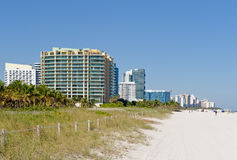 Hotels on the beach stock photography