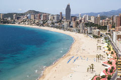 Hotels and beach of Benidorm. Sky and sea. Stock Images