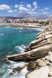 Hotels and beach of Benidorm. Sky and sea. Royalty Free Stock Images