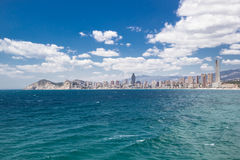 Hotels and beach of Benidorm. Sky and sea. Stock Photo