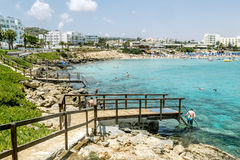 Hotels and beach at Fig tree Bay in Protaras .Cyprus. Stock Photos