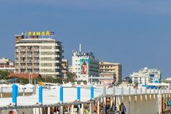 Hotels by the beach, Italy, Riccone. View of hotels behind the beach Royalty Free Stock Photography