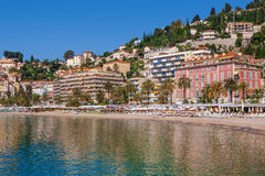 Hotels and beaches in Menton, France. Stock Image