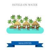 Hotels bij het vector vlakke de aantrekkelijkheid van de Watermaldiven sightseeing royalty-vrije illustratie