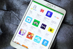 Hotels booking apps on google play. List of top famous hotels booking applications on google play store on samsung tab s2 like trivago and agoda stock photography