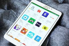 Hotels booking apps on google play royalty free stock photography