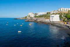 Hotels on the coast of Funchal, capital of the Portuguese island Royalty Free Stock Photography