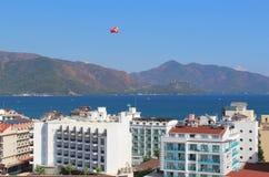 Hotels on the coastline of Marmaris. Aegean Sea. Parasailing. Stock Photo