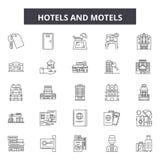 Hotels en motelslijnpictogrammen, tekens, vectorreeks, het concept van de overzichtsillustratie royalty-vrije illustratie