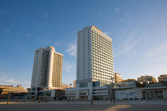 Hotels in the first line on the Mediterranean coas Royalty Free Stock Images