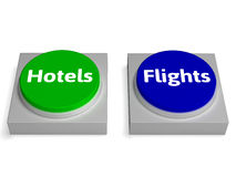 Hotels Flights Buttons Shows Accomodation Or Flight Stock Photo