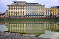 Hotels on the river in Florence city  , Italy Royalty Free Stock Photography