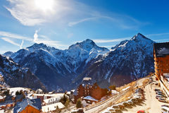 Hotels in French Alps. Ski resort in French Alps Stock Images