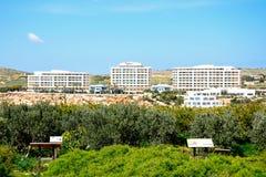 Hotels at Golden Bay, Malta. Royalty Free Stock Photos