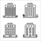 Hotels and hostel line vector icon set Stock Photography