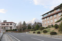 Hotels in Japan and views of Mount Fuji. Stock Photo
