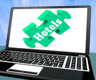 Hotels Laptop Shows Motels Hotel And Vacancies Stock Image