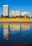 Hotels lined next to Pacific Ocean. In Santa Monica Stock Images