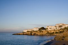 Hotels on the Mediterranean. White painted hotels and apartments on the Spanish mediterranean coast royalty free stock images