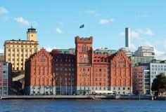 Hotels nähern sich Wasser in Nacka Stockholm Stockbild