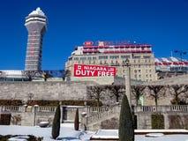 Hotels Niagara, Ontario, Canada. Crowne Plaza Hotel, Casino and duty free sign on the Canadian side of Niagara Falls, Ontario Stock Image