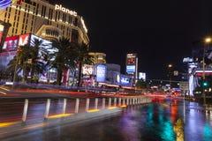Hotels reflecting in flood water in Las Vegas, NV on July 19, 20. LAS VEGAS - JULY 19, 2013 - Vegas Strip on July 19, 2013 in Las Vegas. Vegas hotels and cars Stock Images
