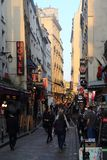 Hotels and restaurants in Rue de la Huchette in Paris, France stock photography