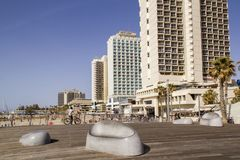 Hotels on the Seashore in Tel-Aviv in sunny day Royalty Free Stock Image