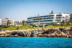 Hotels on the shoreline of the Maediterranean Sea. Ayia Napa, Cy Royalty Free Stock Images