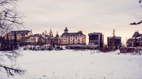 Hotels in Strbske pleso, High Tatras, Slovakia, red filter Royalty Free Stock Image