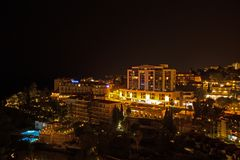 Hotels and Swimming Pool at Night,, Funchal stock photo