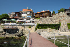 Hotels and taverns in old town of Sozopol, Bulgaria Stock Image