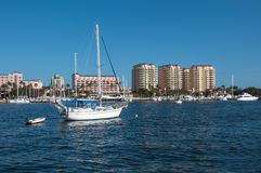 Hotels und Boote Florida Stockfotografie