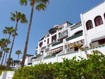 Hotels und Palmen Stockfotografie