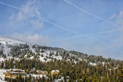 Hotels in winter Austrian Alps Royalty Free Stock Photos