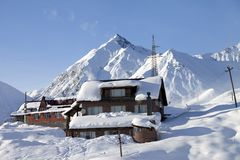Hotels in winter snowy mountains Stock Photography