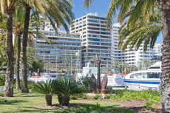 Hotels, yachts, boats and anchor Stock Photography