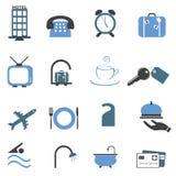 Hotelsymbol-Ikonenset Stockbild