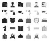 Hotelu i wyposa?enia czer? mono ikony w ustalonej kolekcji dla projekta Hotel i wygoda symbolu zapasu wektorowa sie? ilustracji