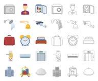Hotelu i wyposa?enia kresk?wka, kontur ikony w ustalonej kolekcji dla projekta Hotel i wygoda symbolu zapasu wektorowa sie? ilustracji