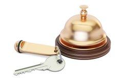 Hotelu kluczowy i recepcyjny dzwon, 3D rendering Obrazy Stock