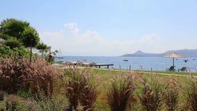 Hotelu morze przy tłem i ogród zbiory wideo