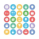 Hotelu & restauraci Barwione Wektorowe ikony 1 Zdjęcie Stock
