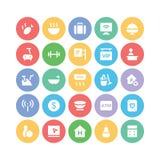 Hotelu & restauraci Barwione Wektorowe ikony 6 Obraz Stock