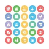 Hotelu & restauraci Barwione Wektorowe ikony 7 Obrazy Royalty Free