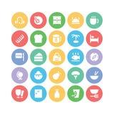 Hotelu & restauraci Barwione Wektorowe ikony 10 Zdjęcie Stock