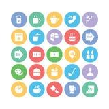 Hotelu & restauraci Barwione Wektorowe ikony 8 Obraz Stock