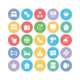 Hotelu & restauraci Barwione Wektorowe ikony 13 Zdjęcie Royalty Free